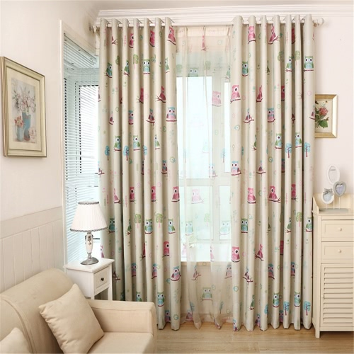 Anself 2Pcs 100*250cm Adorable Cartoon Children Curtain Boys and Girls Bedroom Shade Cloth Cute Owl Printed Teens Thick Window Screening with Grommet Wall Decoration Size 39