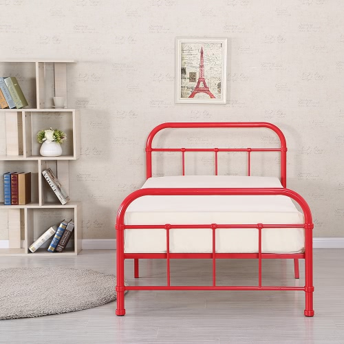 iKayaa Metal Platform Twin Size Bedroom Bed Frame