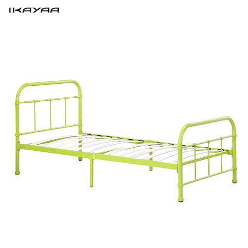 IKAYAA High-quality Metal Platform Bed Frame W/ Wood Slats for Twin Sized Mattress(99*190cm) Foundation Box Spring Replacement Bedroom Furniture