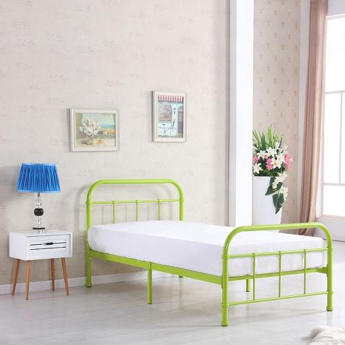 Plataforma de metal iKayaa Twin Size Dormitorio Marco de la cama