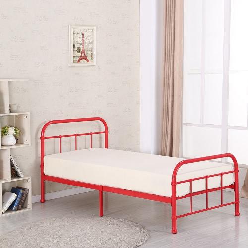 IKAYAA Высококачественная Металлическая платформа Каркас кровати W / Wood Планки для сдвоенных Sized матрас (99 * 190см) Foundation Box Spring Замена Мебель для спальни