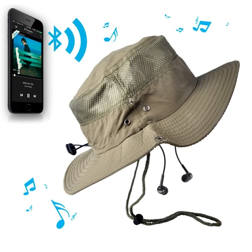 New Fashion Unisex Checkered Bluetooth Sun Hats Large Brimmed Hat Summer Bluetooth Music Hat Wireless Hands-Free Smart Cap Headphone Headset Speaker Mic