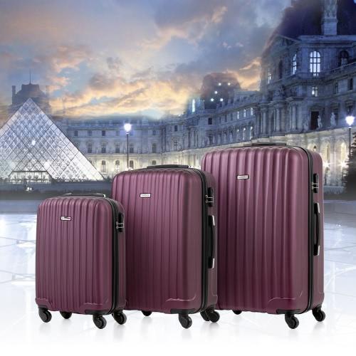 TOMSHOO 3 Piece Luggage Set-Purplish Red