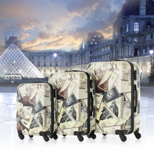 TOMSHOO Fashion 3PCS Luggage Set-Landmark Building Pattern