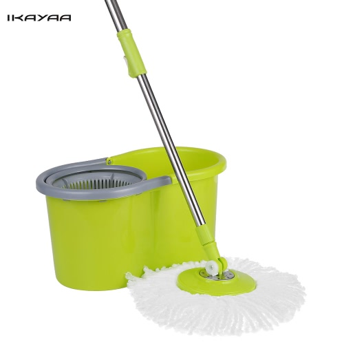 iKayaa Press Type Stainless Steel 360°Rolling Magic Spin Mop & Bucket Set Rotating Easy-Wring Floor Mop W/ 2 Microfiber Mop Heads
