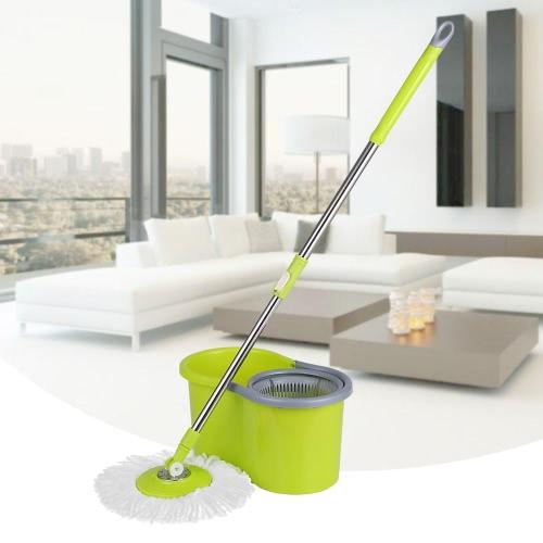 iKayaa Stainless Steel 360°Rolling Mop & Bucket Set