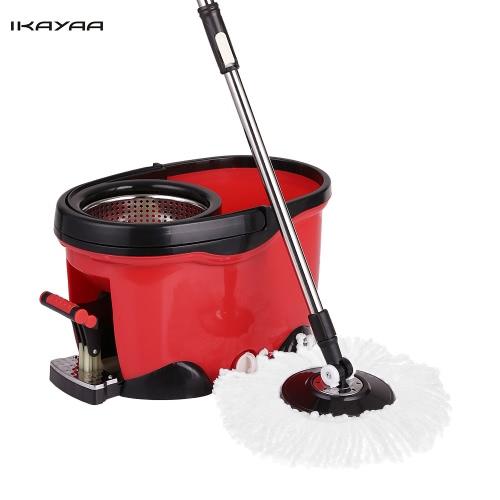 IKayaa Freisprecheinrichtung Edelstahl 360 ° Rolling Spin Mop & Eimer Set W / 2 Microfaser Mop Köpfe