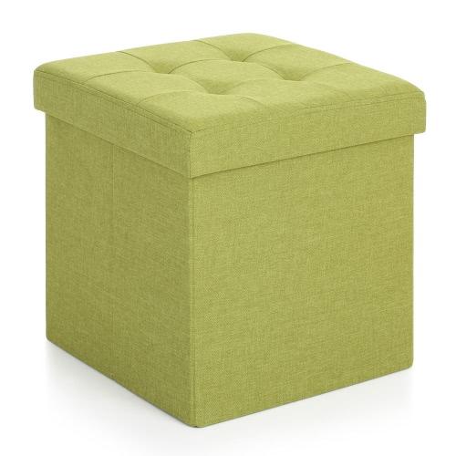 IKayaa Modern Linen Fabric Foldable Storage Ottoman Cube Foot Rest Storage  Stool Box Pouffe Padded Seat