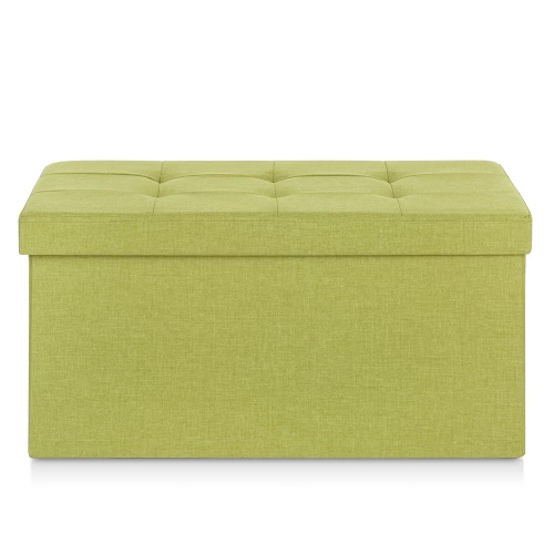 iKayaa Современное белье Ткань Складной хранения Османская Bench Большой прямоугольник подножка пуф Ящик для хранения Табурет Instant Coffee Table