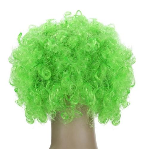 Fãs Festnight Adulto palhaço colorido Afro Wig Curly Halloween Cabelo Masquerade Cosplay Futebol Wig