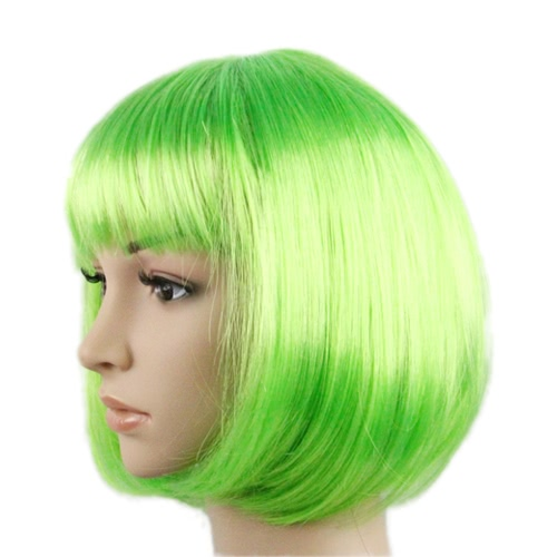 Festnight Women's Colorful Candy Color Short Straight Wig Bob Style Hair Halloween Masquerade Cosplay Stage Show Costume
