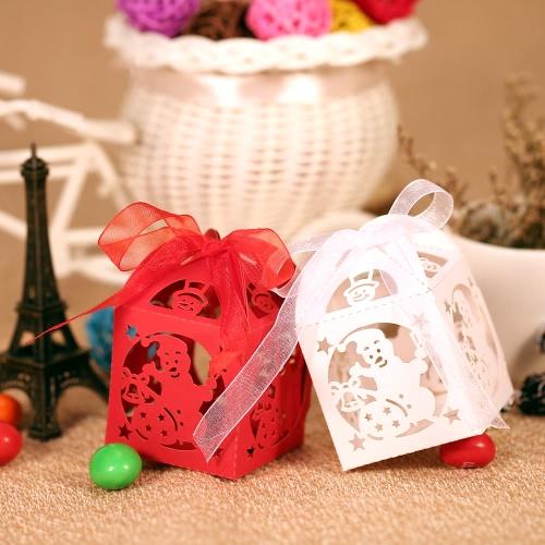 50pcs Zarte Weihnachtsschneemann DIY Süßigkeit Keks Geschenkboxen mit Band für Weihnachten Party Hochzeit Bankett Geschnitzte