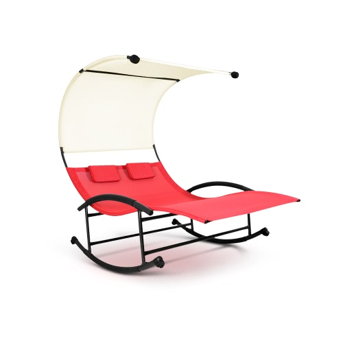 iKayaa Outdoor Double Chaise Rocker W/ Canopy Textilene Garden Pool Double Lounge Chair Bed Patio Loveseat Furniture