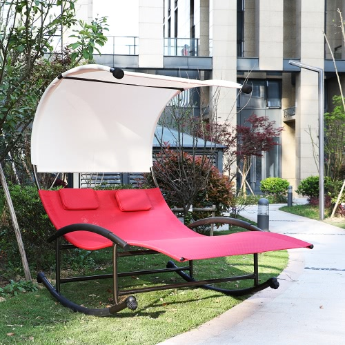 iKayaa Patio Garden Outdoor Double Chaise Rocker