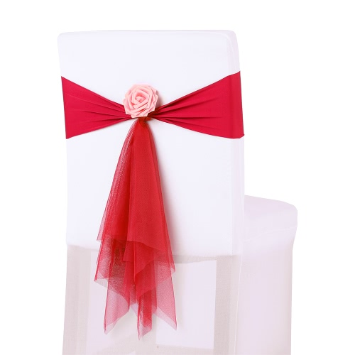 10PCS Wedding Banquet Decorations Organza Handmade Chair Cover Sashes With Artificial Rose Flower Events Supplies Party Decoration Chair Sash