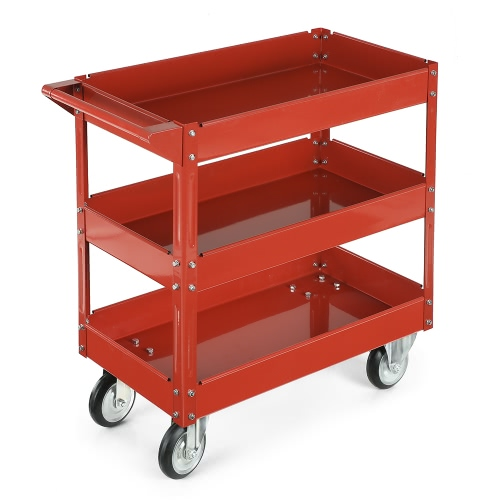 iKayaa 3 Shelves Steel Tool Cart 100KG Capacity Utility Cart Storage Service Cart W/ 360°Swivel Casters Red/Black