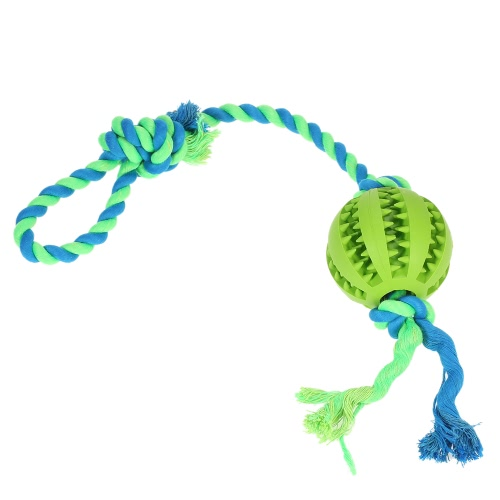 Dog Ball with Rope Small Fetch and Tug Rope Interactive IQ Pet Dog Ball Toy Dog Teeth Cleaning Chew Toy Non-Toxic Safe Dog Entertained Toy Ball Toy for Dogs Cats