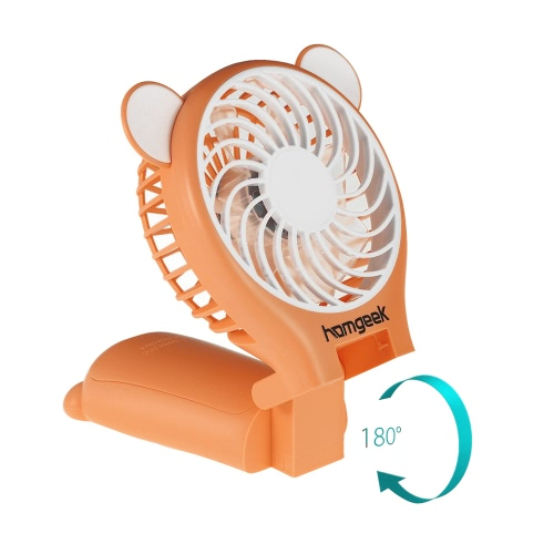 Homgeekポータブルクマの形ミラー機能付きホームオフィス用のUSB充電式のためのミラーかわいいミニハンドヘルド表折り畳み式ファン2の速度