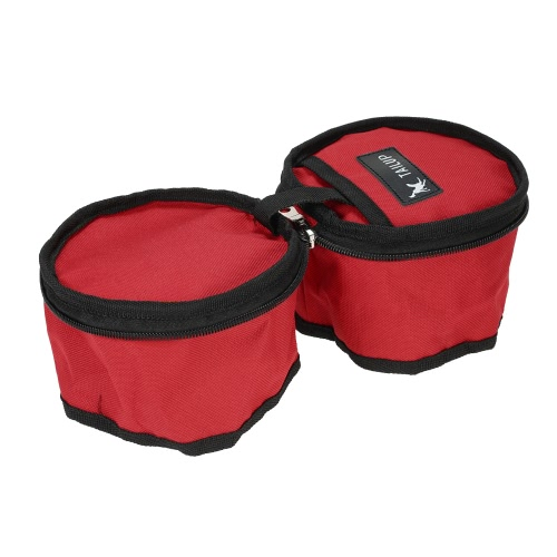 TAILUP Collapsible Oxford Fabric Pet Dog Food Water Bowl Bag Dual-Bowl Feeder Container for Travel Outdoor Activities