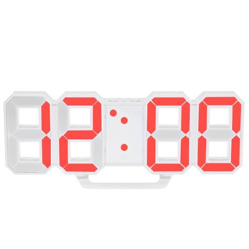 Многофункциональные большие светодиодные цифровые настенные часы 12H / 24H дисплей времени с функцией будильника и отсрочки Регулируемая яркость