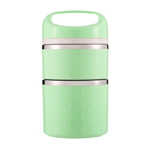 1080ml 2-Layer gute Qualität Edelstahl thermische Lunch-Box praktische praktische Isolierung Lunch-Box Multifunktionale Hitze & kalte Konservierung Box Food Carrier Travel & To-Go Lebensmittel-Container