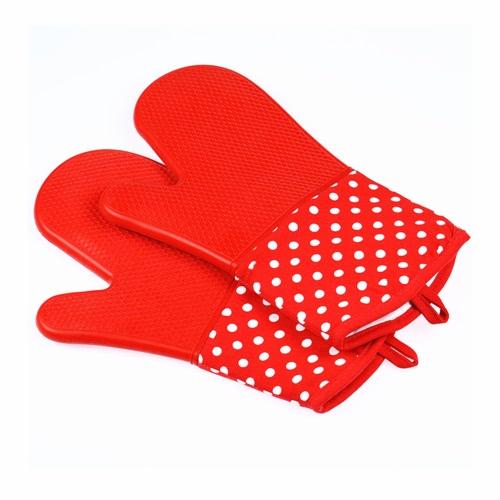 Силиконовые духовые рукавицы с триплетным стеганым хлопчатобумажной облицованной силиконовой кухонной перчаткой Термостойкие перчатки для выпечки для выпечки Приготовление барбекю