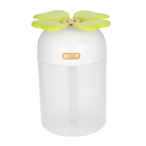 220ml Multifunctional Portable USB Humidifier Handy Mini Aroma Diffuser Four Leaf Clover USB Humidifier with Colorful Night Light