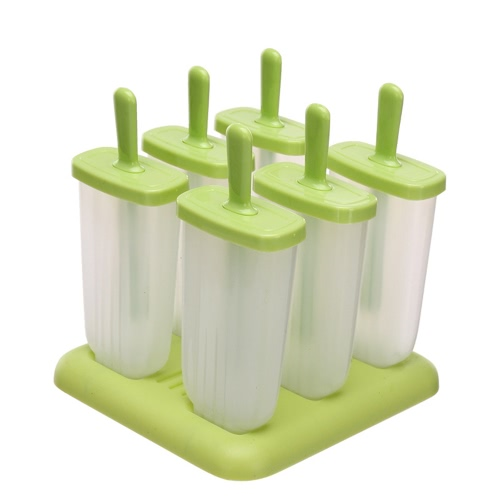 6 Push Up Popular Ice Cream Popsicle Maker Molds Sets DIY Shape Frozen Icy Ice Lolly Holder Tray Cool Summer Square Storage Box Snacks Container