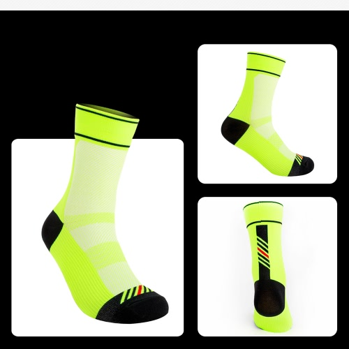 3 Pairs Mens Chinlon Athletic Cycling Socks Moisture Wicking Quick Dry Outdoor Running Hiking Socks for US 8.5-10 / UK 7.5-9 / European 42-45--Fluorescent Green