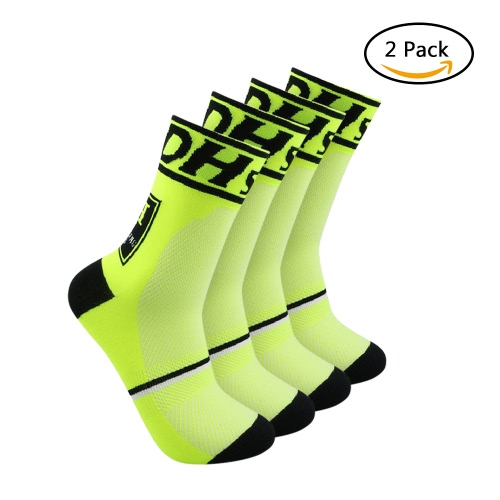 2 Pairs Men's Athletic Cycling Socks Breathable Wicking Outdoor Running Hiking Socks for US 8.5-10 / UK 7.5-9 / European 42-45--Black