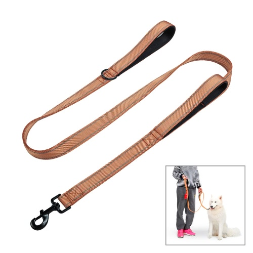 Double Handle Pet Dog Leash Reflective 1.5m/ 5ft Long Nylon Material Comfortable Padded Handles for Large & Medium Dogs Daily Walking Training