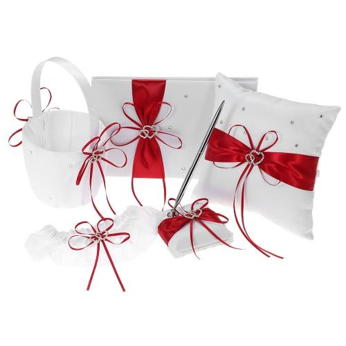 5pcs / set Свадебные принадлежности Double Heart Satin Flower Girl Basket + 7 * 7 дюймов Кольцо Подушка + Гостевая книга + Держатель для пера + Комплект подвязки для невесты