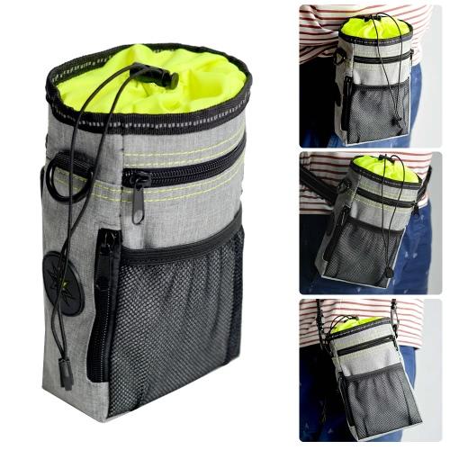 Dog Treat Pouch Bag Holder with Secure Closure Waste(Poop) Bag Dispenser 3 Wear Ways(Waist Belt/Clip On/Shoulder Strap) for Training Walking Dog Toys Treats Kibble