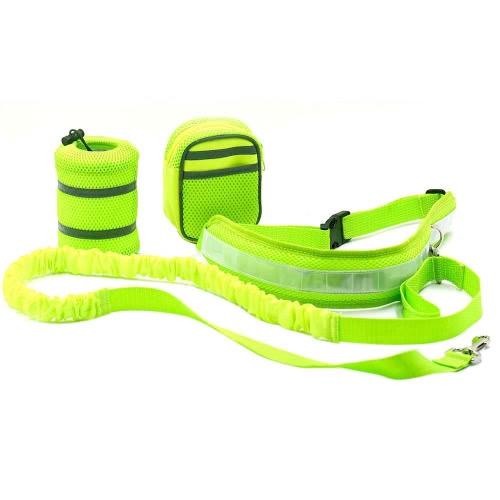 3-in-1 Hands Free Комплект для повязки собак Комплект ремня безопасности для собак с предохранительным тросом с регулируемым держателем для бутылочного пояса для тарелок Лечебная сумка для тренировки Ходьба Бег бега