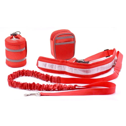 3-in-1 Hands Free Dog Leash Kit Pet Strap Lead Safety Traction Rope with Adjustable Waist Belt Bottle Holder Treat Pouch Bag for Training Walking Running Jogging