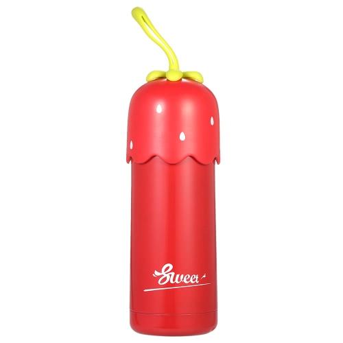320ml Mignon Strawberry Vacuum Water Cup Bouteille d'eau isolée à vide en acier inoxydable Haute qualité Warm Keeping Bouteille d'eau Chauffage et bouteille de préservation à froid Bouteille d'eau de voyage et à volonté