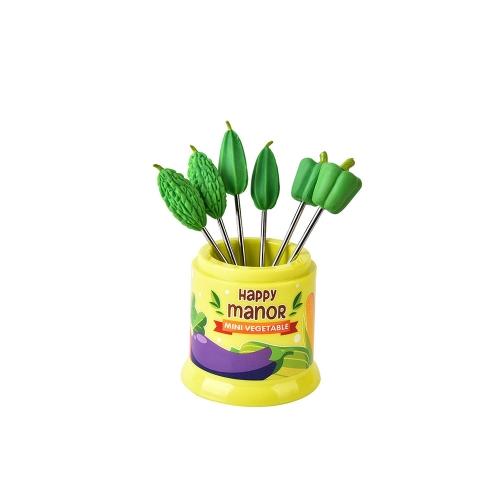 6Pcs Happy Manor Food Fruit Fork Set Party Cake Salad Vegetable Forks Dessert Picks Table Decor Tools Bento Accessories