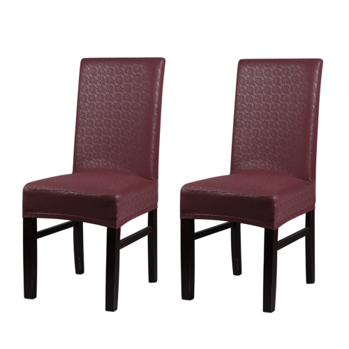 2pcs One-piece PU Leather Lace Pattern Dining Chair Seat Covers Waterproof Oilproof Dustproof Stretchable Chair Slipcovers Protectors--Red