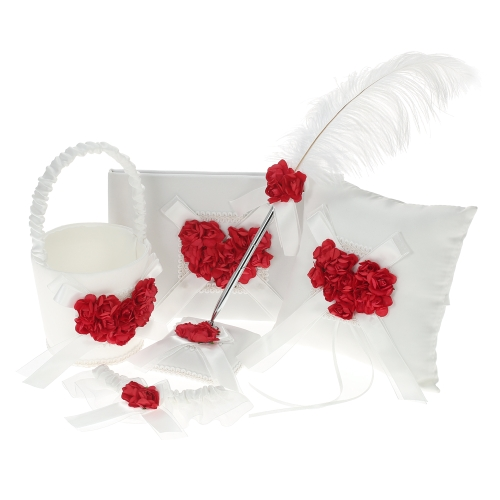 5pcs/set Satin Flower Girl Basket + 7 * 7 inches Ring Bearer Pillow + Guest Book + Pen Holder + Bride Garter Set Wedding Supplies--Red