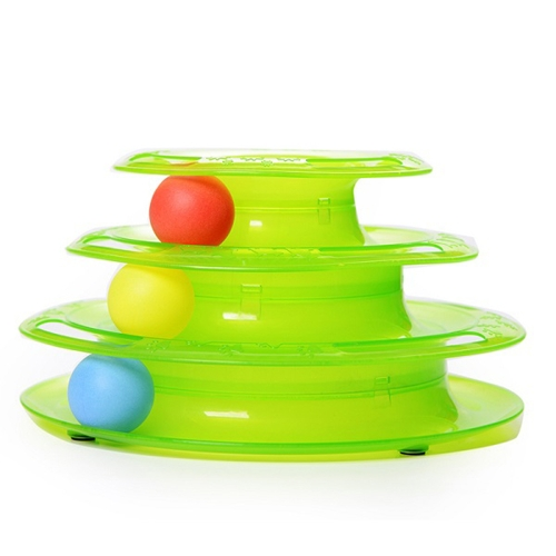 Tower of Tracks Amusement Intelligence Dog Cat Toys Three Layers Turntable Ball Pet Products Round-shaped Trilaminar Playing Plate Entertaining Shelf Play Station