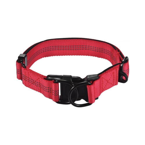 Strong Durable Dog Collar Dual D-ring Nylon Length Adjustable Reflective Strips Comfortable Neck Pet Collars for Large Medium Dogs