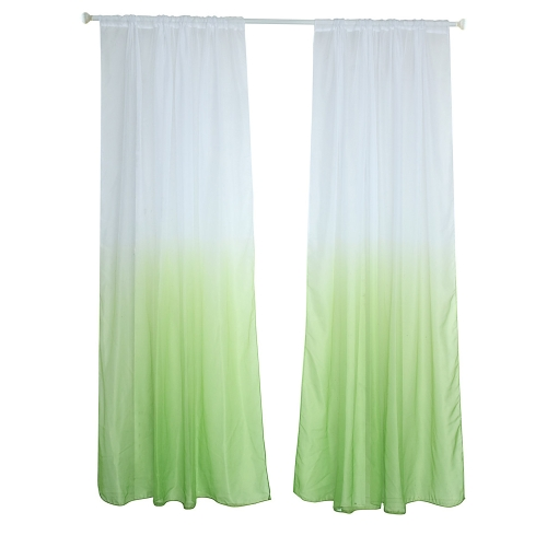 39 * 79inches Polyester Semi-Blackout Gradient Color Window Curtain Panel Living Room Bedroom Hotel Divider Voile Curtain with Rod Pocket--Green