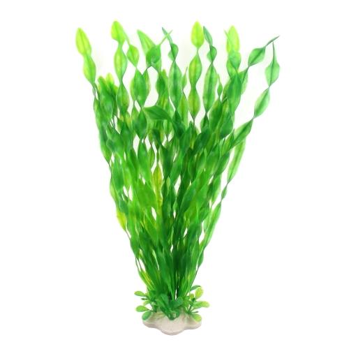 Подводный орнамент Искусственный рыбный резервуар Аквариумный трава Декор Подводный экологический симулятор Длинный лист воды Пластиковый завод с керамической основой Зеленый