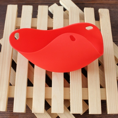 Silicone Egg Poachers Cups Eggs Boiler Poaching Poach Cup Pods Mould Cookware  Kitchen Tool Pancake Baking Cups (Red)