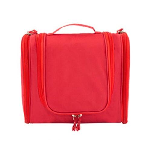 Portable que cuelga la bolsa del organizador del artículo de tocador plegable de la capacidad grande del maquillaje cosmético del caso del recorrido Accesorios de baño rojos