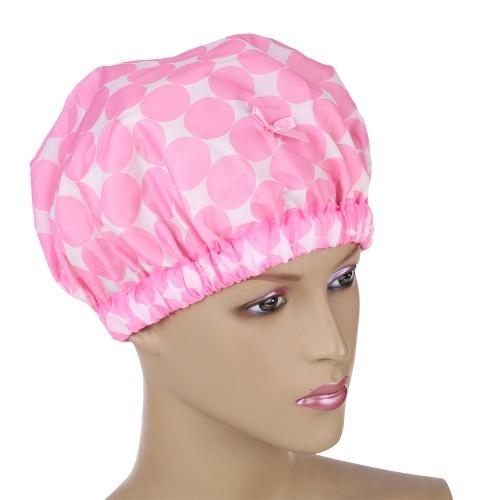 1 шт Супер смазливая утолщенная многоразовая эластичная крышка для душа для душа с двумя слоями для женщин и девочек Pink