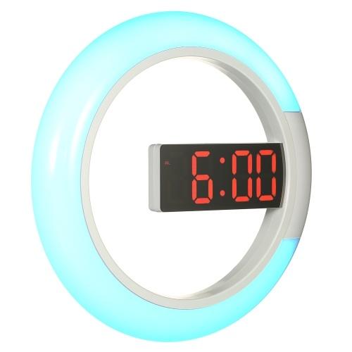 Reloj de alarma de Temperture del espejo de la pared de 12 pulgadas Digitaces LED