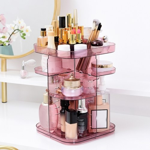 Makeup Organizer 360 Degree Rotation Multi-Functional Cosmetic Display Case Storage Box DIY Adjustable Height for Brushes Lipsticks Creams Wine Color