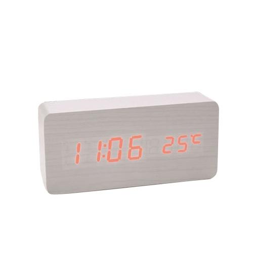 木製サウンドコントロールLED目覚まし時計