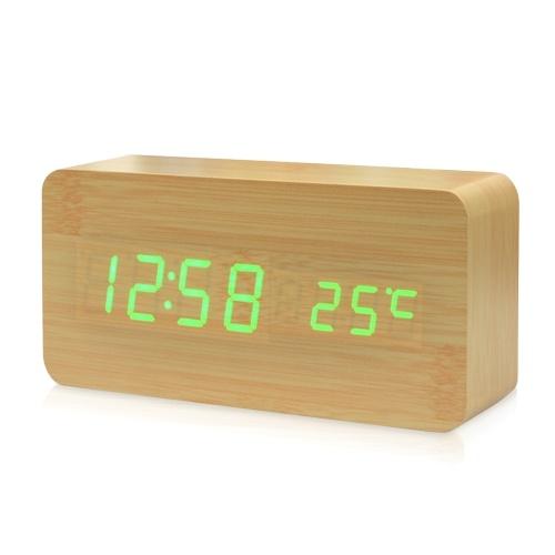 Electronic LED Digital Wooden Alarm Clock